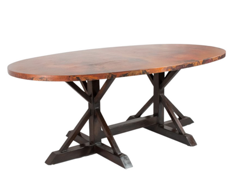 miners copper long dining table