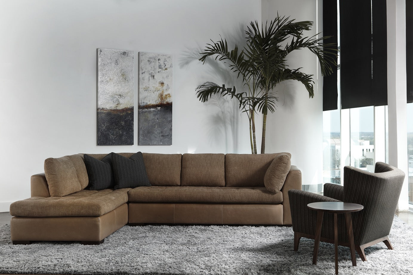 Astoria Sofa by American Leather with Contrasting Covers