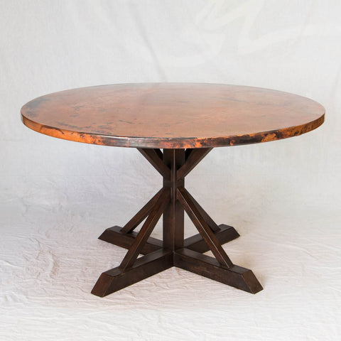 Miners Copper Top Round Dining Table with Iron Base