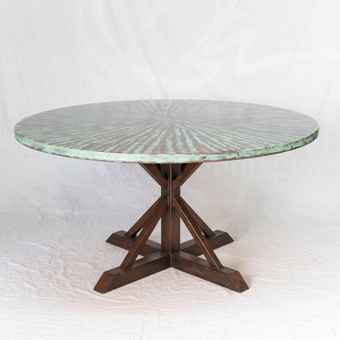 Miners Copper Top Dining Table with Oxidized Style