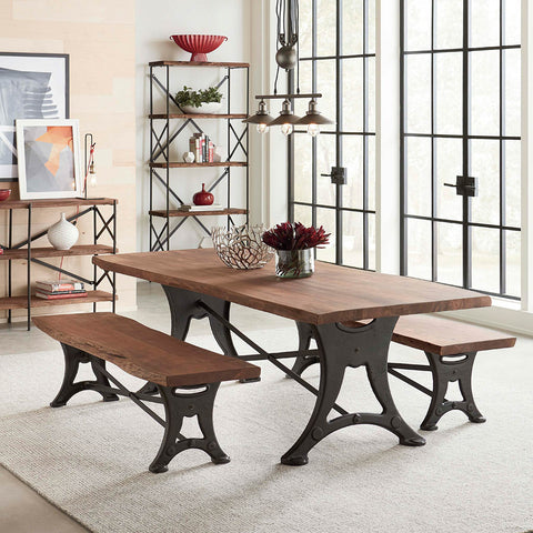 Rustic Style Organic Forge Live Edge Dining Table