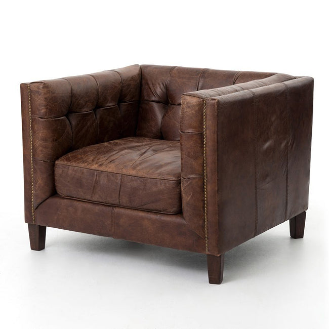 Abbot Club Chair brown leather by Four Hands