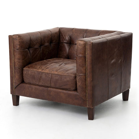 Abbott Club Chair - Antique Brown Leather - Abbott Club Chair - Cigar Saddle Toned With Aged Top Grain Leather