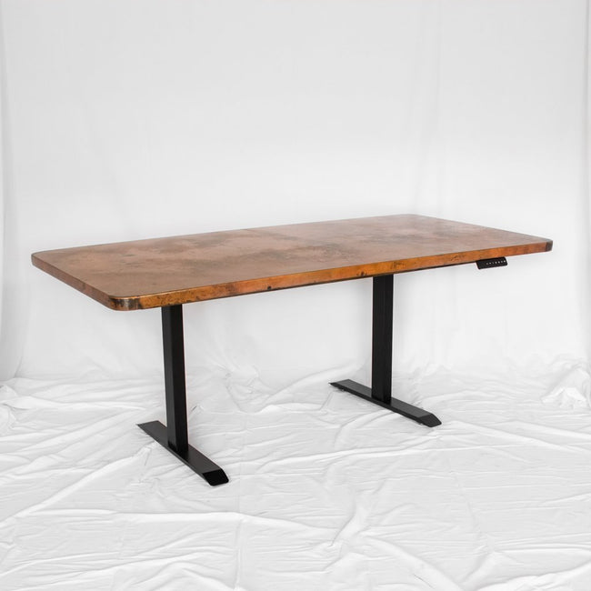Adjustable Height Copper Top Desk