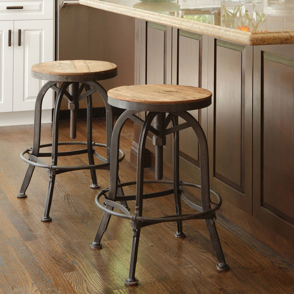 Round Kitchen Island With Seating: Rustic And Industrial Reclaimed Fir