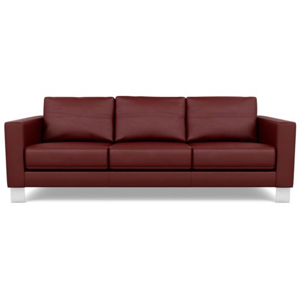 Bali Red Hibiscus- Alessandro Three Seat Leather Sofa