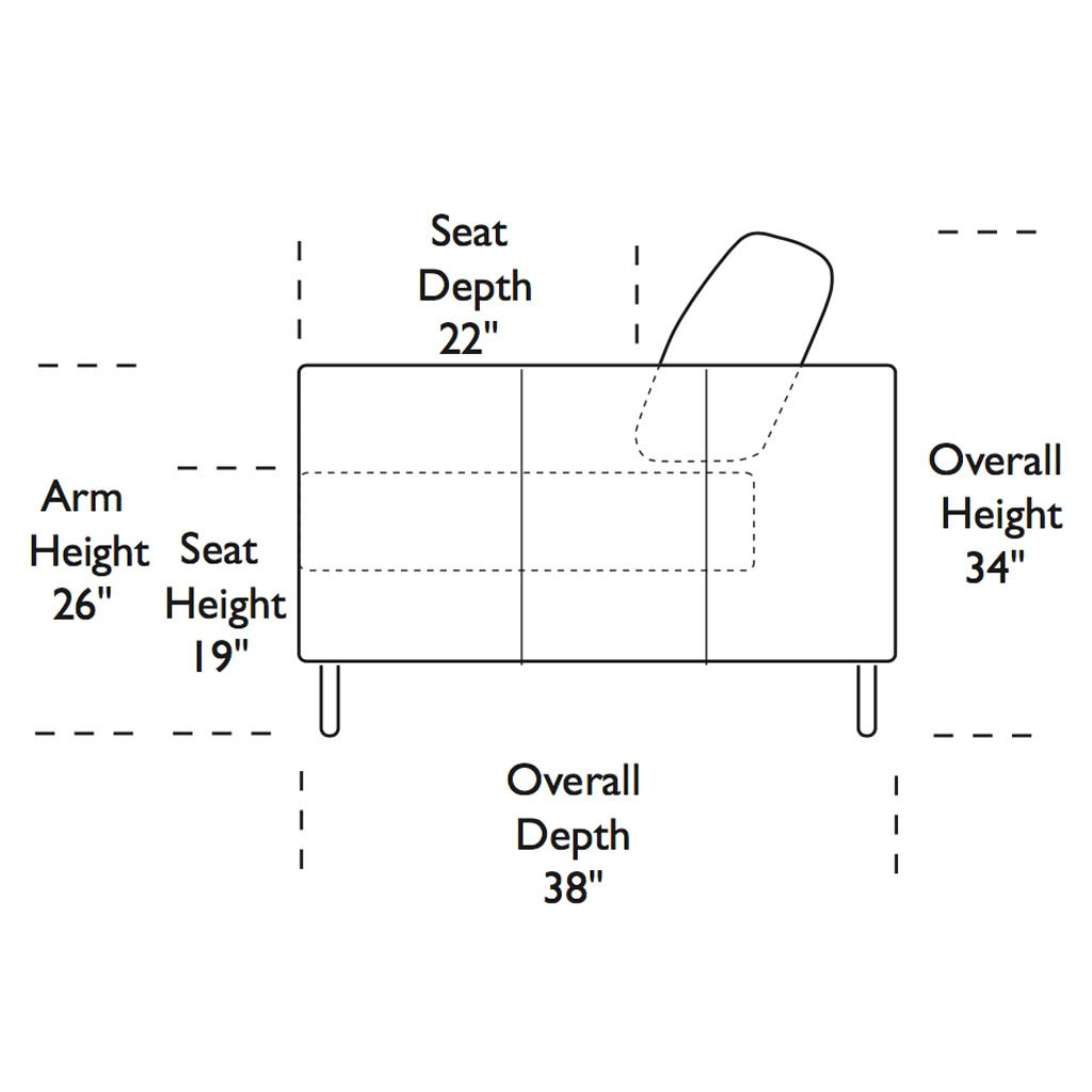 Alessandro Sofa Side Specification Measurements