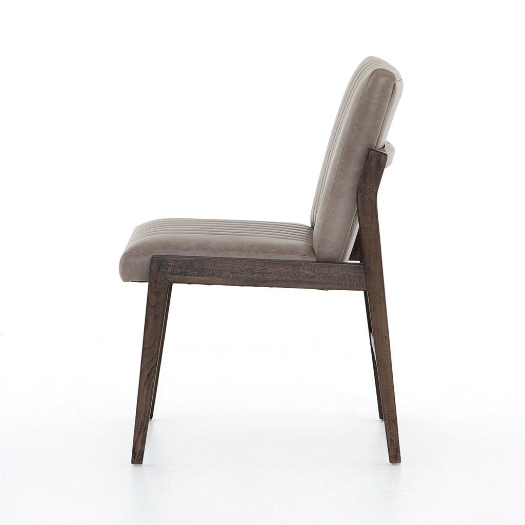 Alice Grey Leather Dining Chair Side View