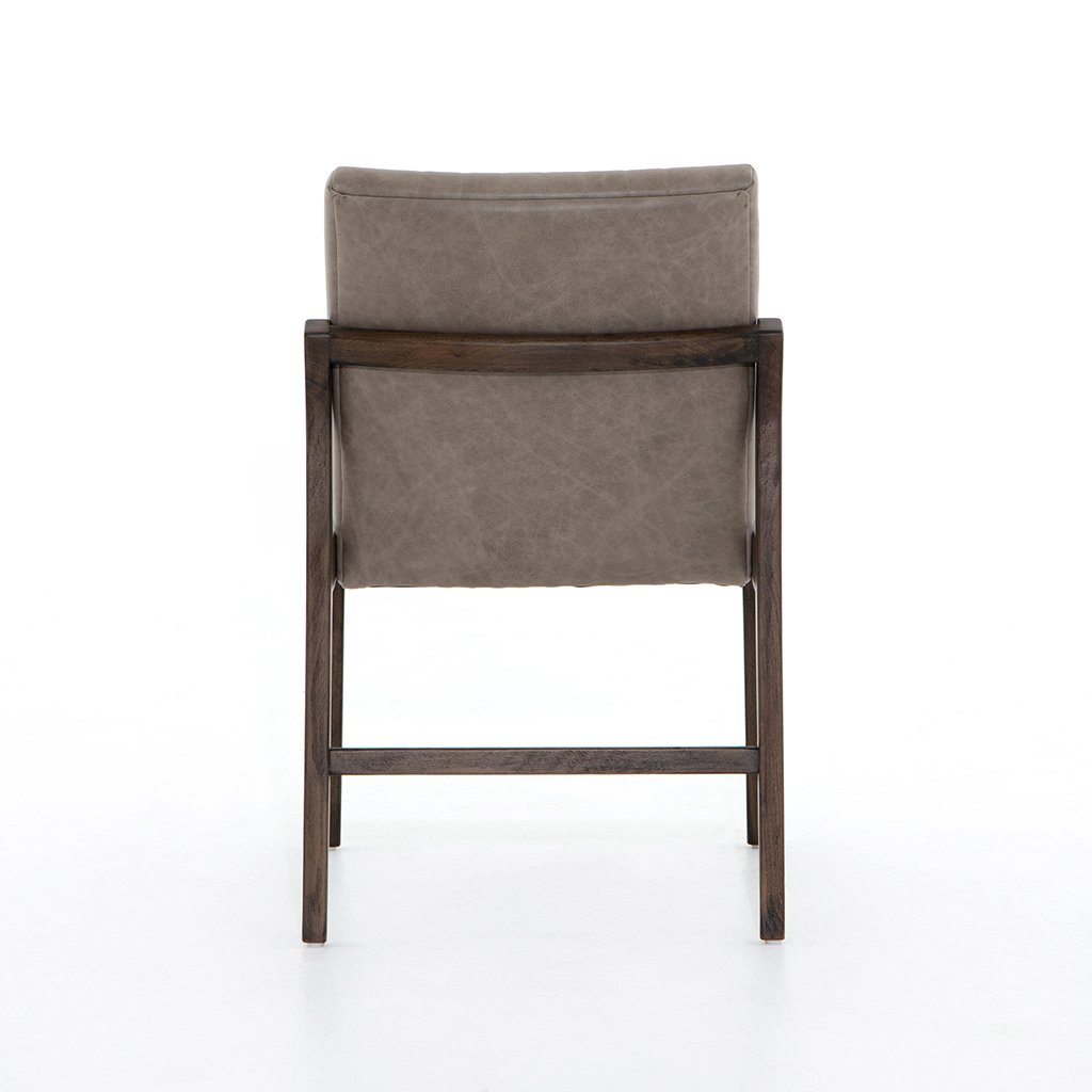Alice Grey Leather Dining Chair Back View