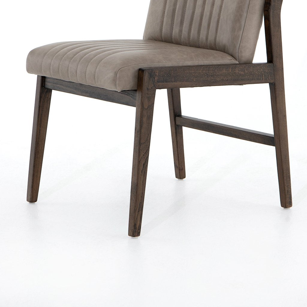 Alice Grey Leather Dining Chair Seat Detail