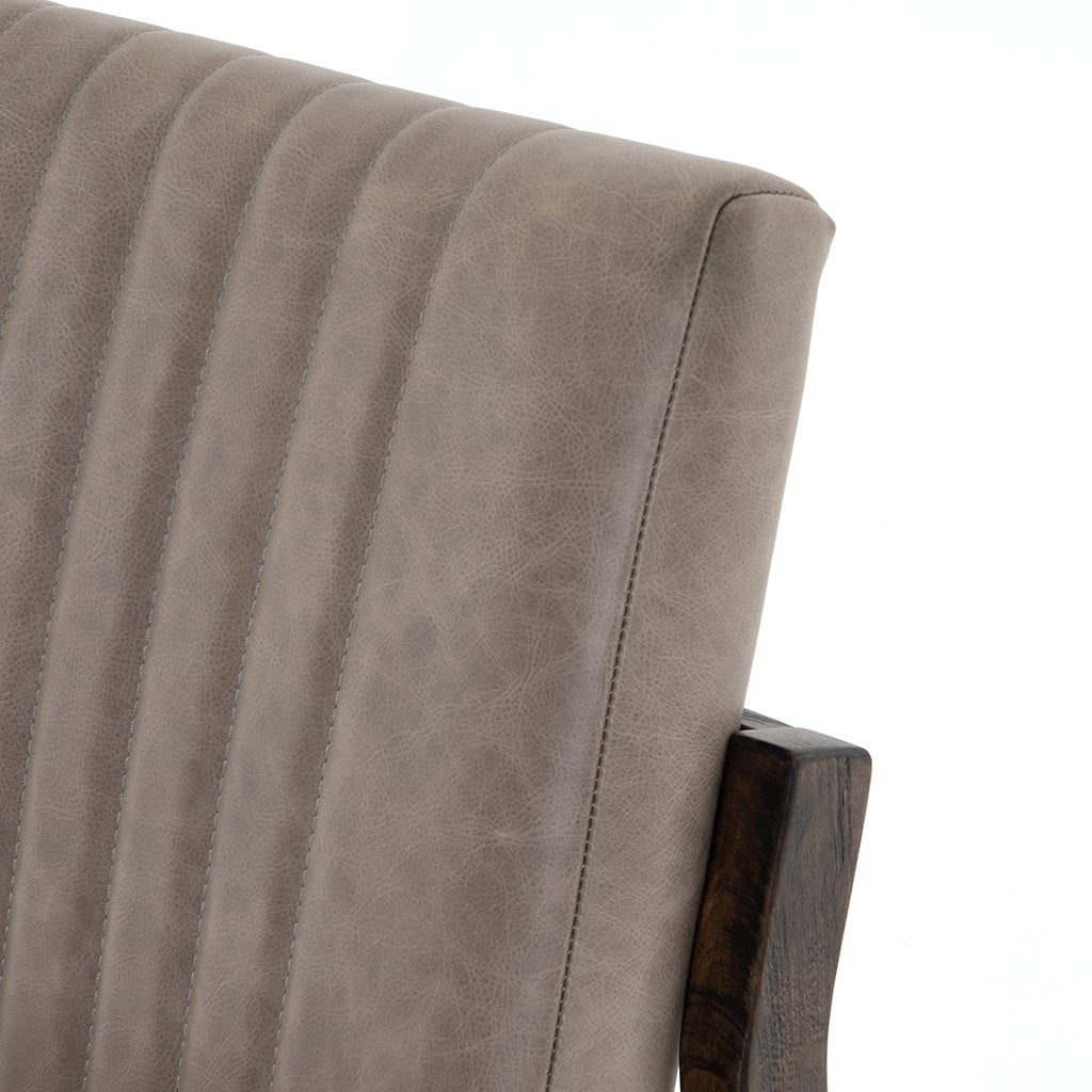 Alice Grey Leather Dining Chair Back rest detail