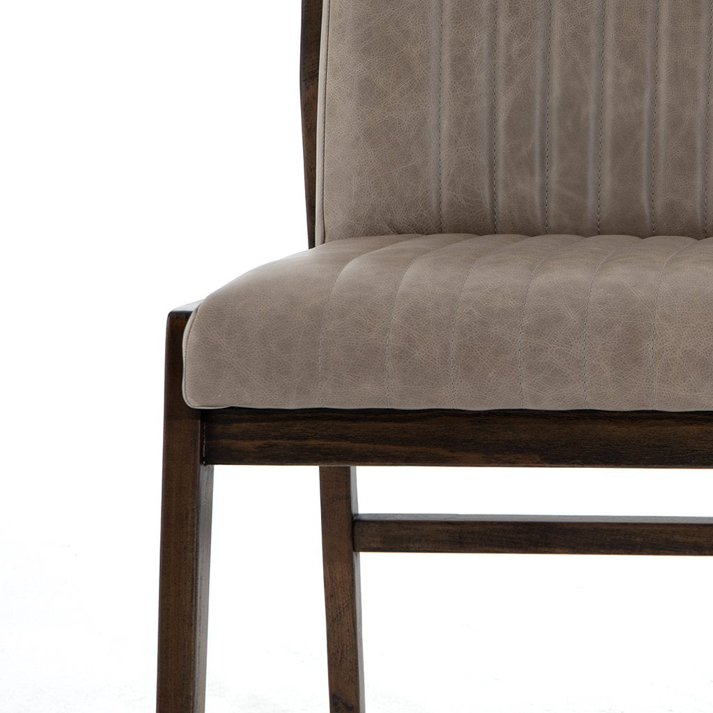 Alice Grey Leather Dining Chair Corner Detail
