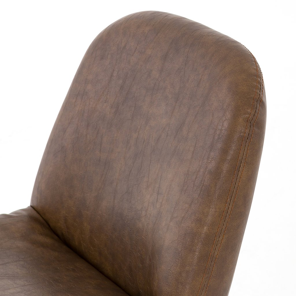 Amber Desk Chair - Distressed Brown Amber Faux Leather Desk Chair - Brown CASH-136-926