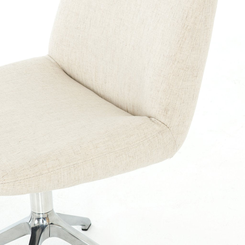 white upholstered desk chair