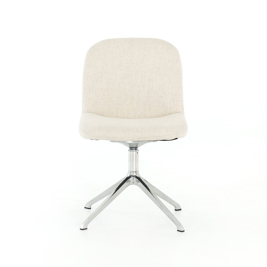 retro white desk chair with stainless base