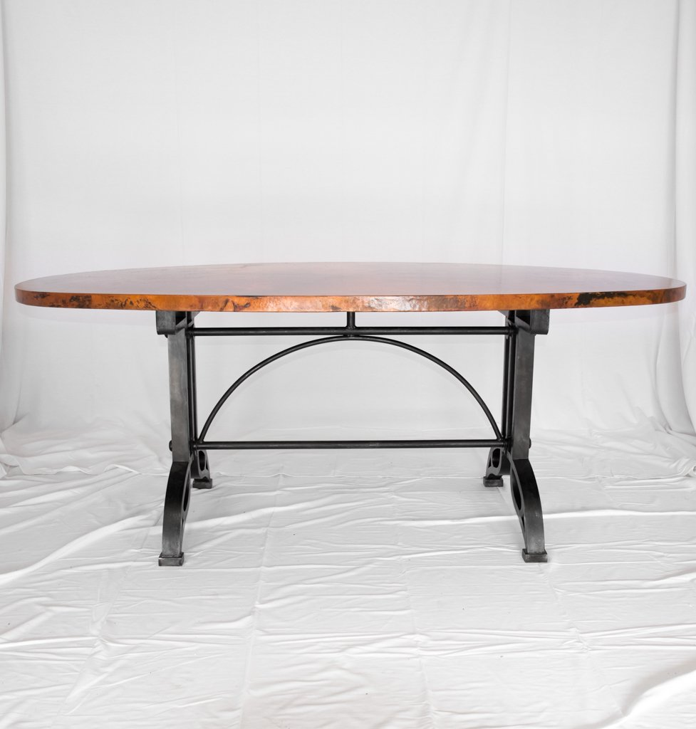 Amherst Oval Copper Top Dining Table