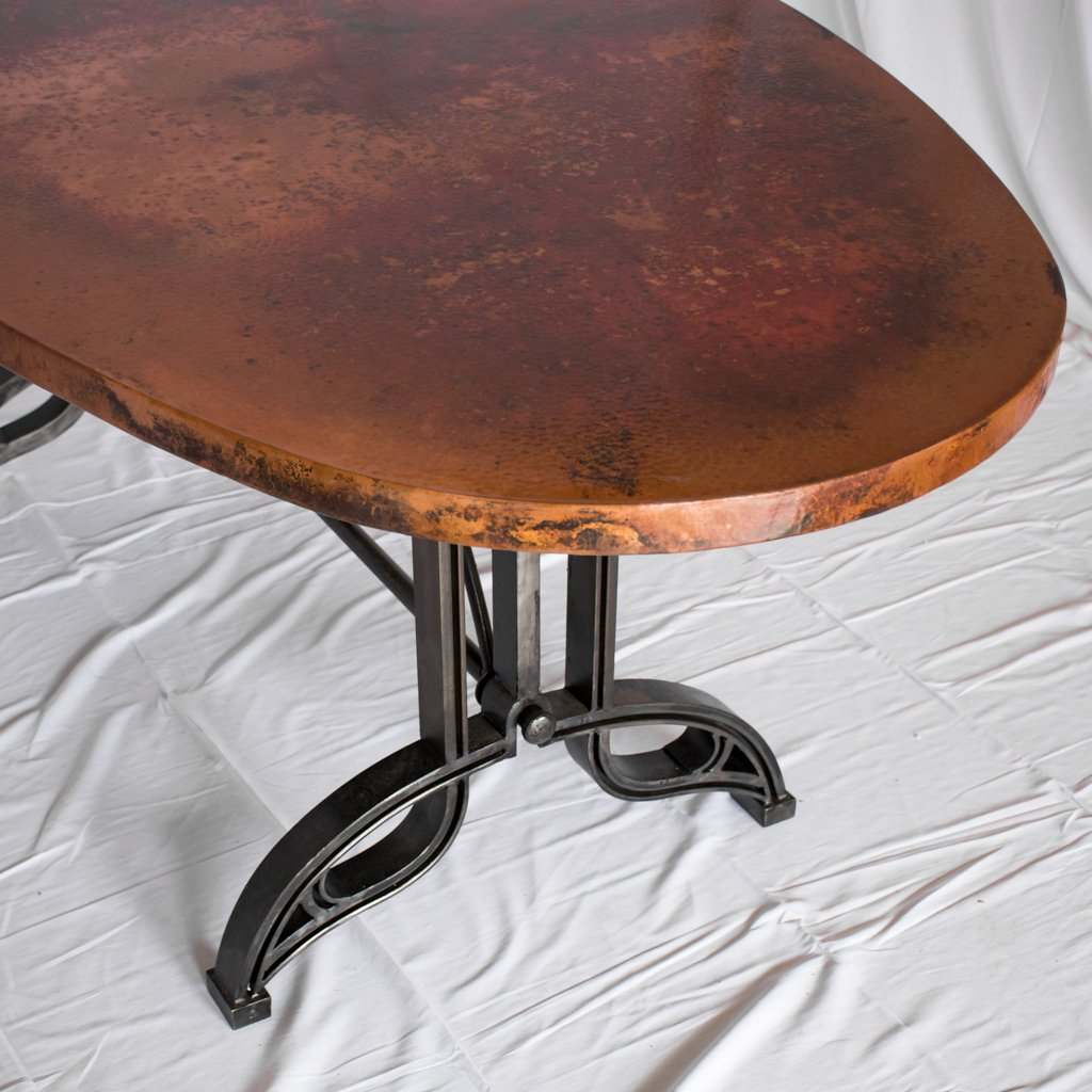 copper and iron dining table Amherst