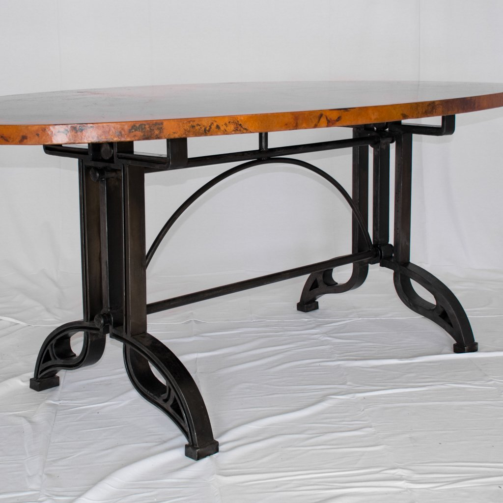 Amherst Oval Copper Top Dining Table with Iron Base