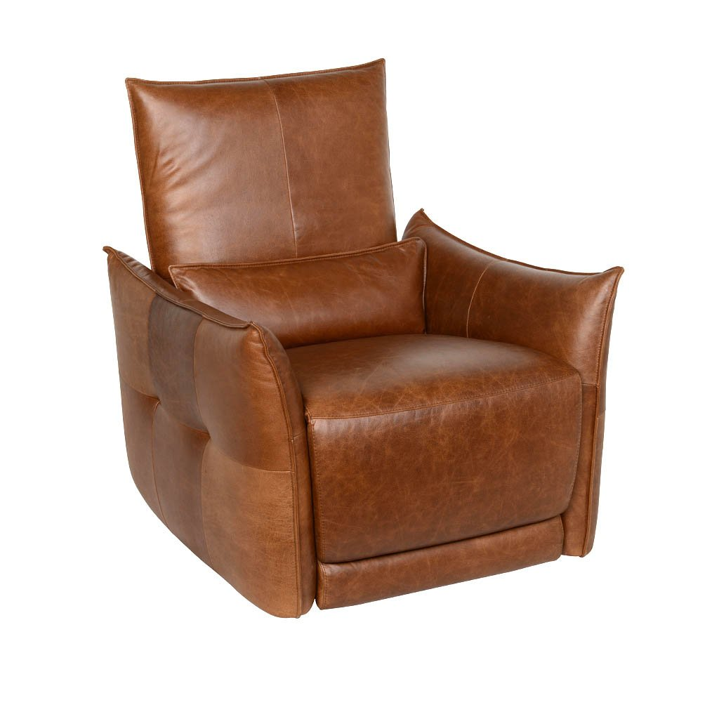 Amsterdam Power Recliner Chair In Brown Leather