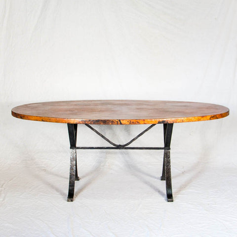 Animas Copper Top Dining Table   Oval