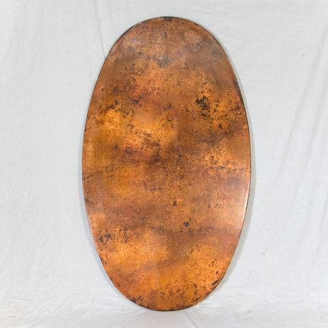 Hammered Copper Oval Tabletop - Natural w/ Spots