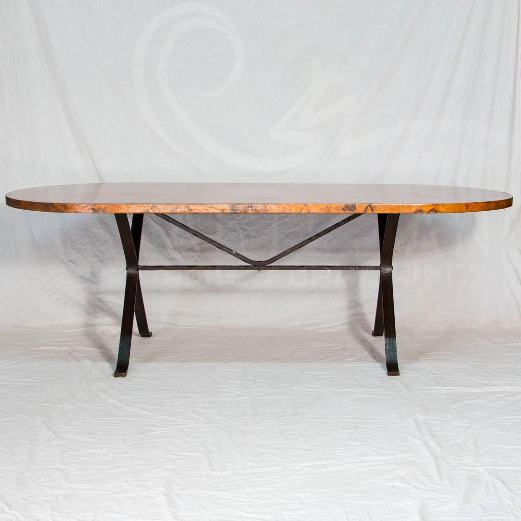 Animas Dining Table Hammered Copper On Iron