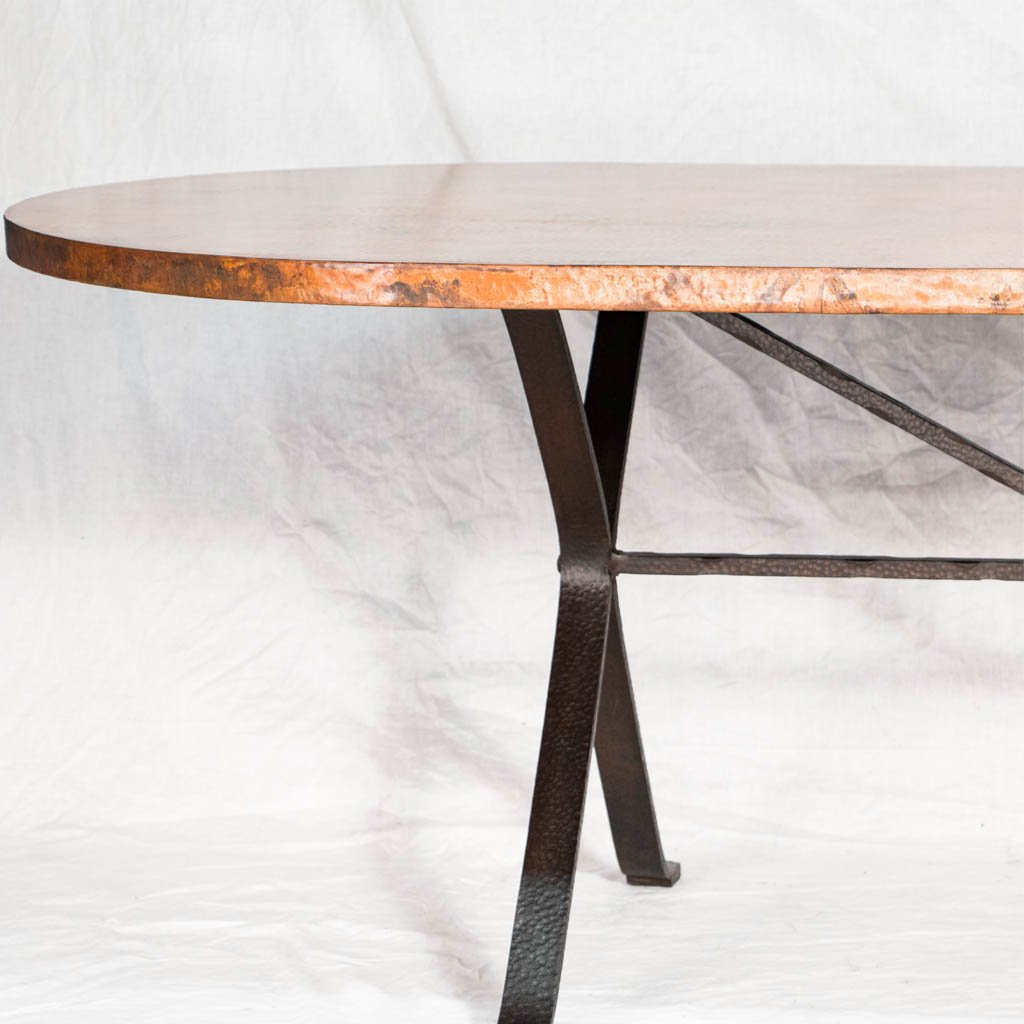 Copper Tabletop on Iron Animas Dining Table