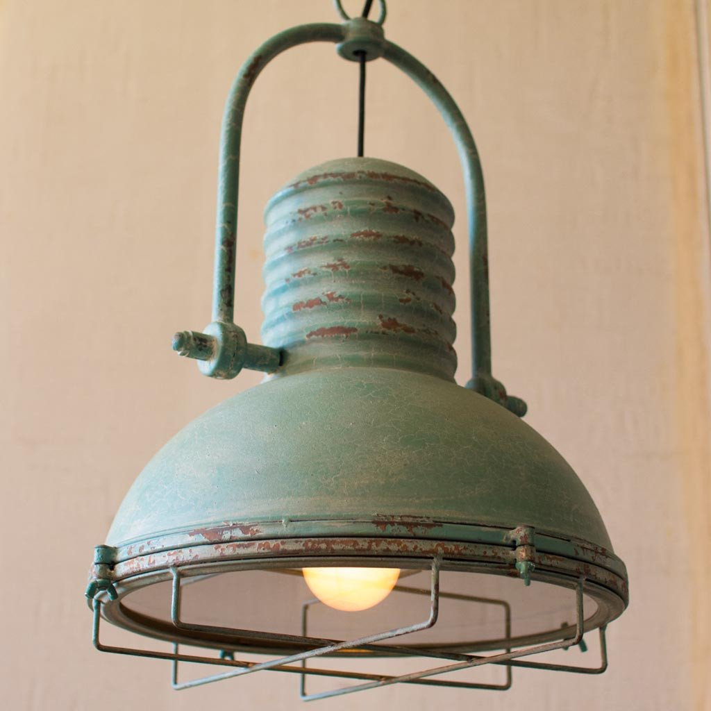 Antique Turquoise Pendant Light Farmhouse Rustic Finish