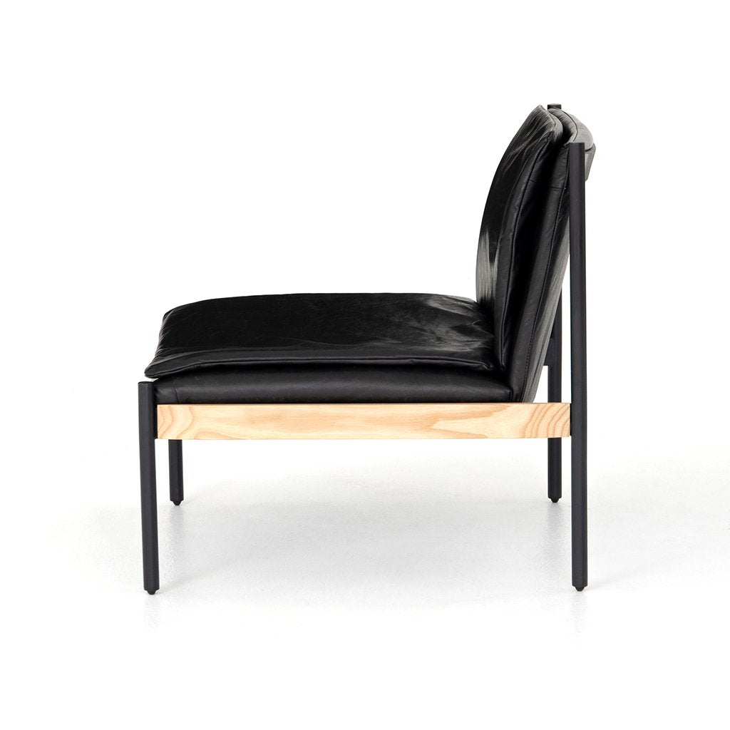 Arthur Black Leather Lounge Chair CBSH-03603-033 Side View