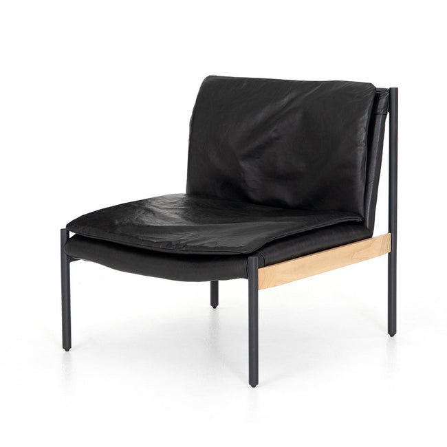 Arthur Black Leather Lounge Chair CBSH-03603-033