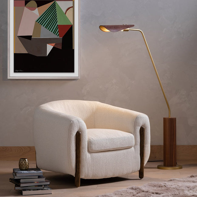 Four Hands Astrid Floor Lamp - Dark Brown Leather