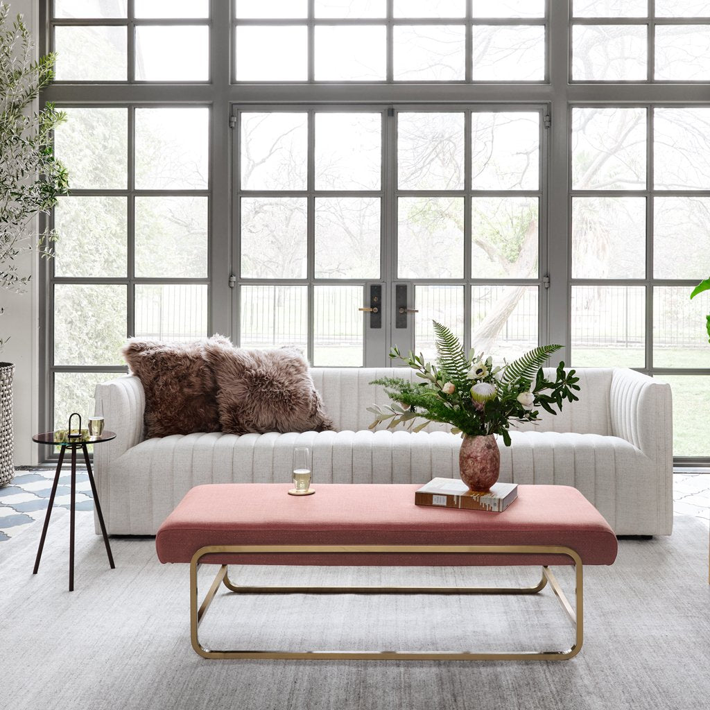 Augustine White Linen Sofa by Four Hands