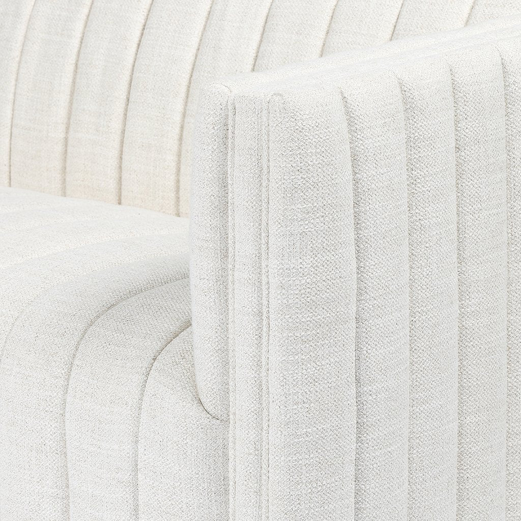 Augustine White Linen Sofa by Four Hands Arm Detail