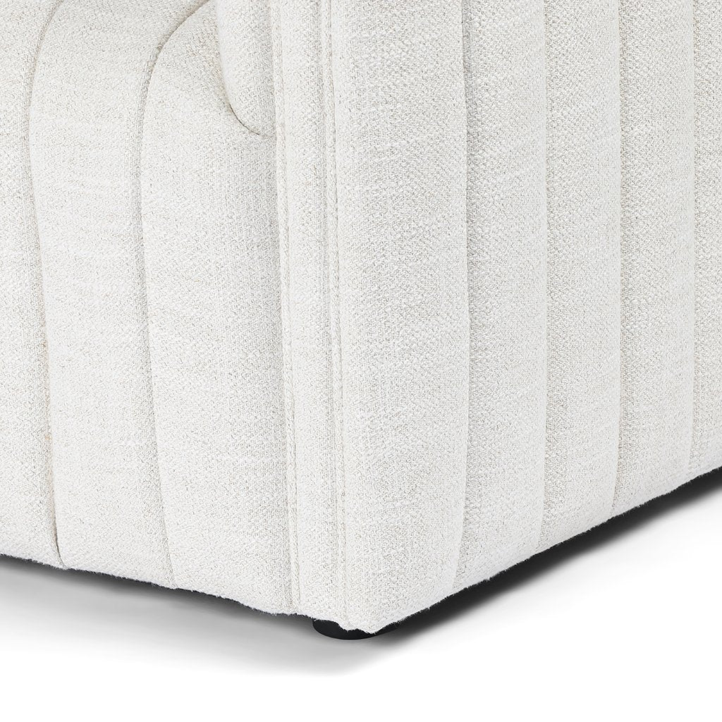 Augustine White Linen Sofa by Four Hands Leg Detail