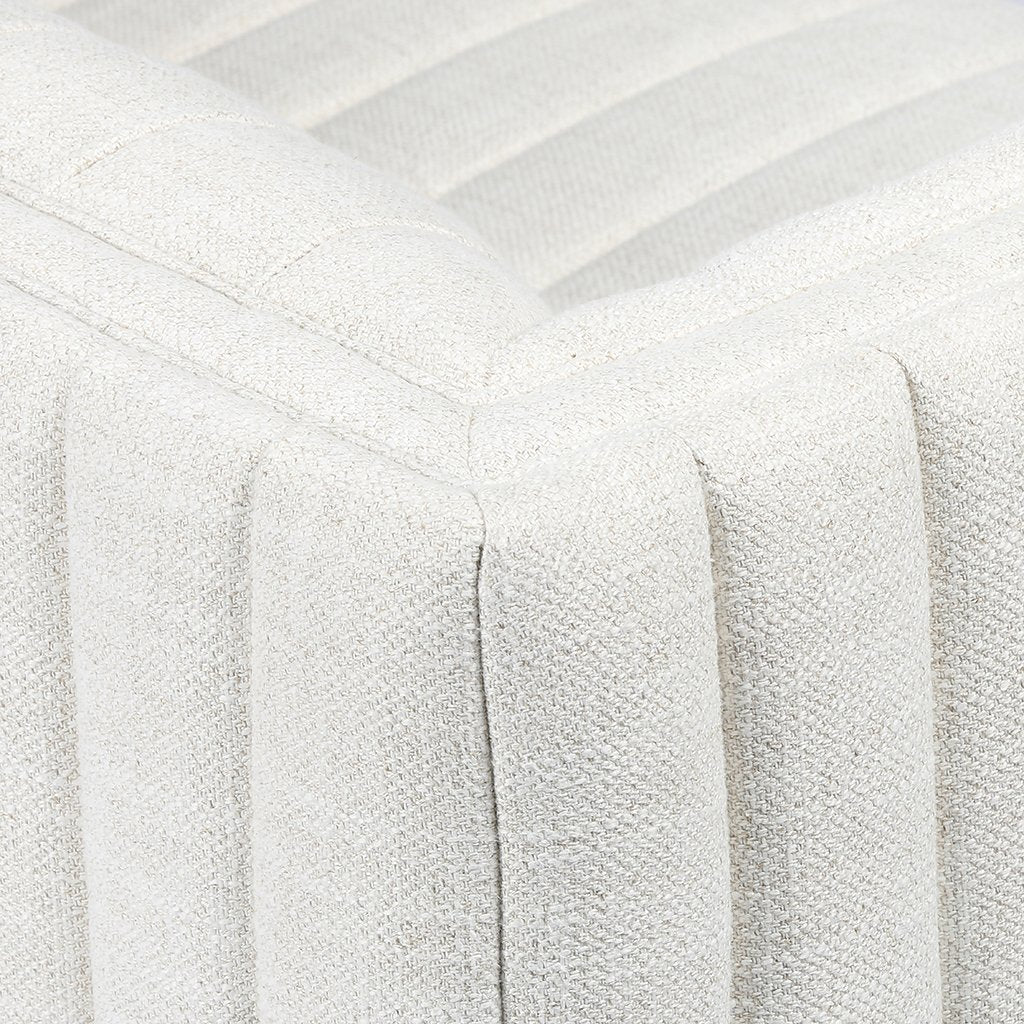 Augustine White Linen Sofa by Four Hands Back Corner Detail