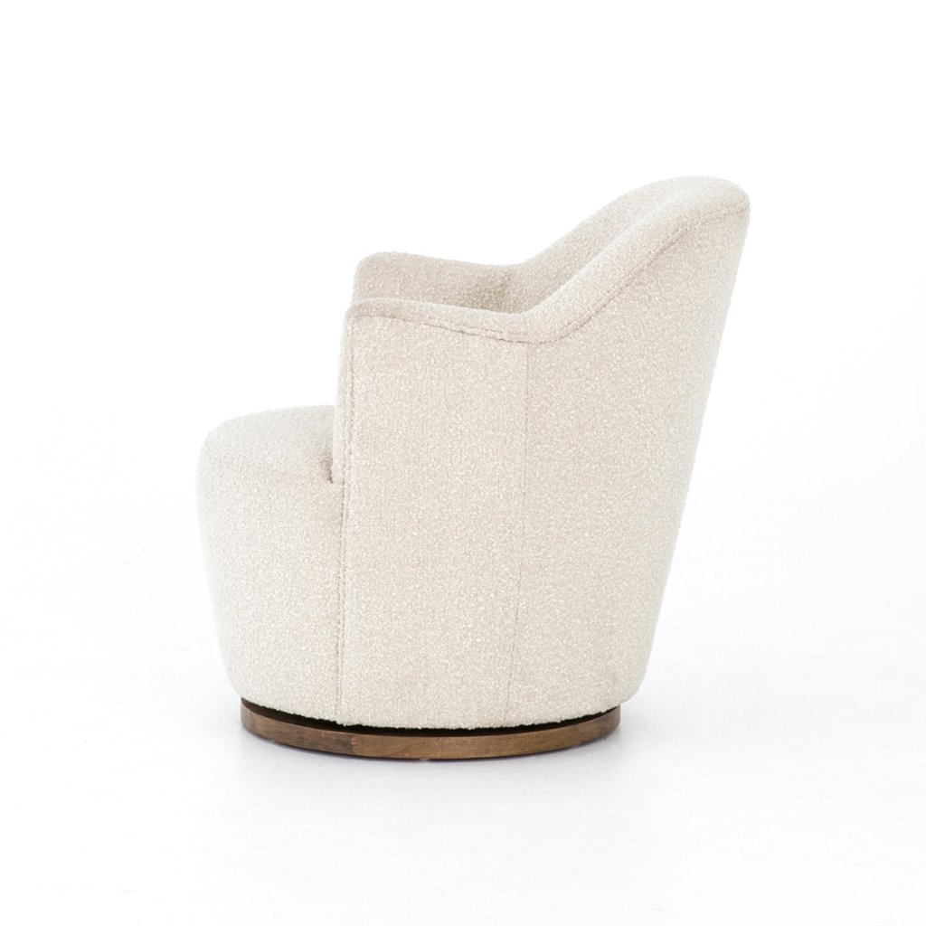 white boucle barrel chair