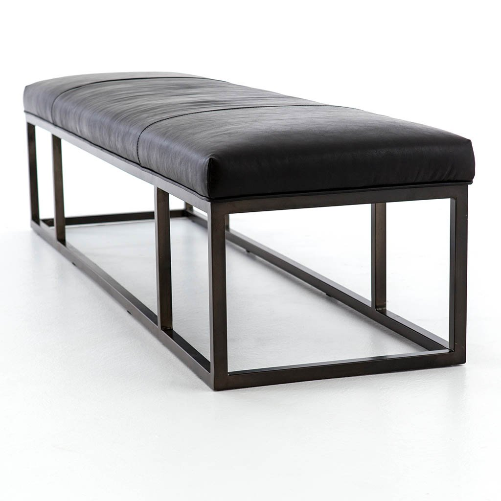 Beaumont Leather Bench CKEN-147A8-396 Rider Black Four Hands