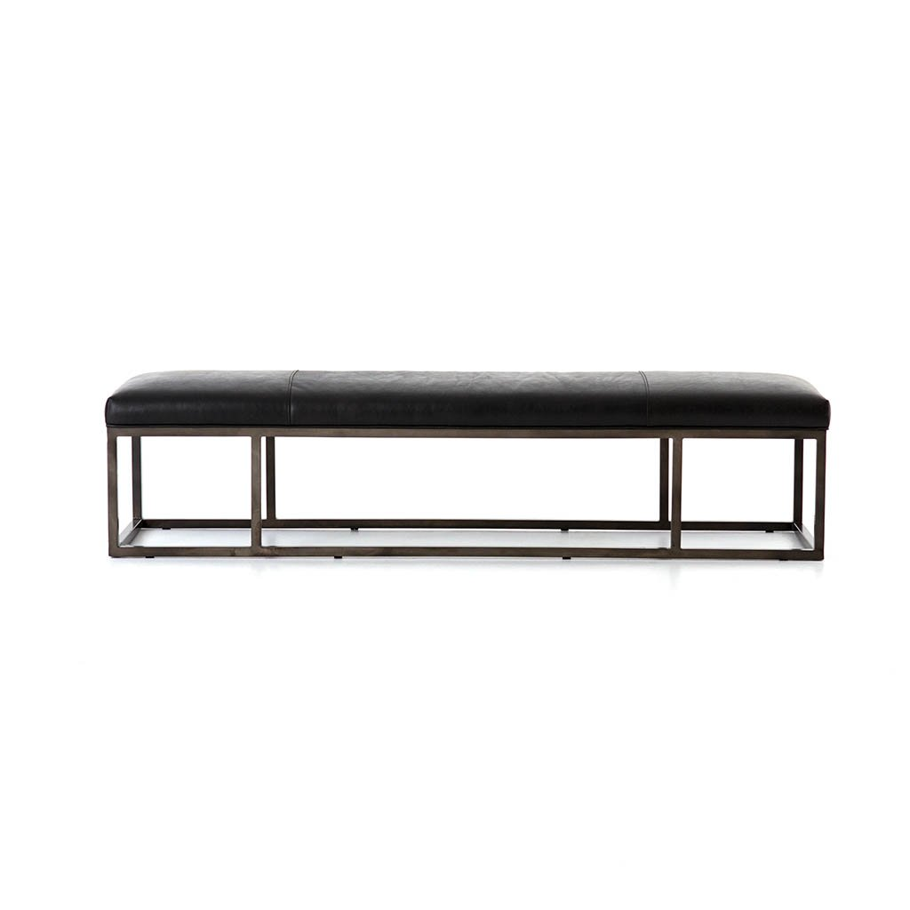 black leather entry bench