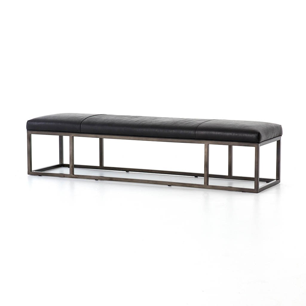 black leather accent bench