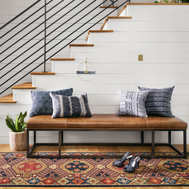 brown leather entryway bench