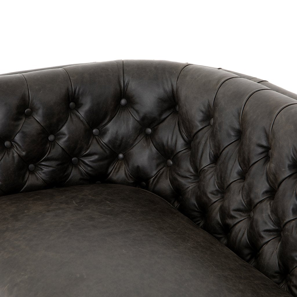 Back Detail Belair Tufted Leather Sofa - Chaps Ebony
