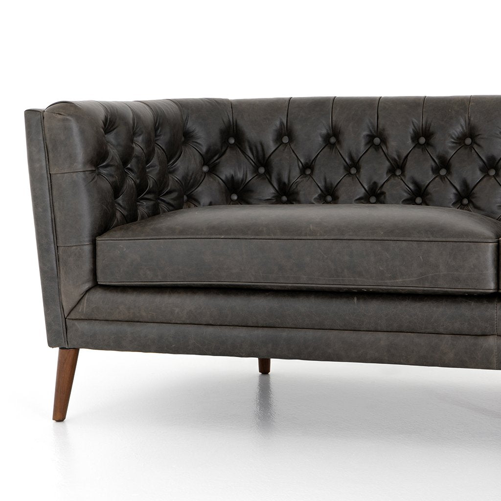 Front Detail Belair Tufted Leather Sofa - Chaps Ebony