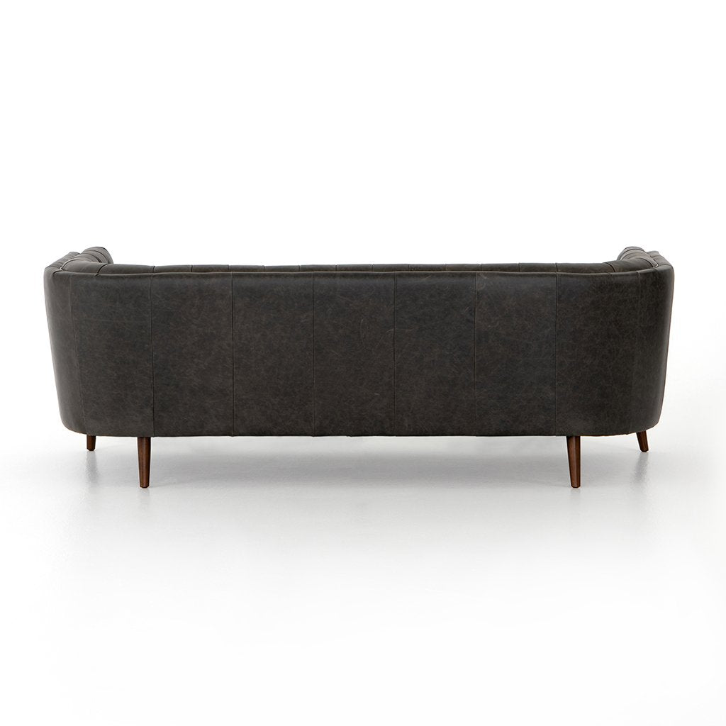 Back View Belair Tufted Leather Sofa - Chaps Ebony