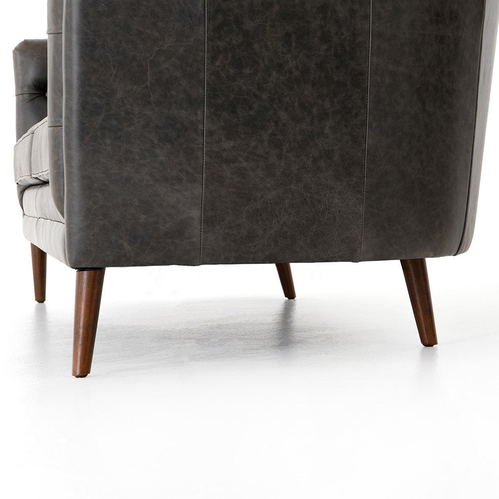 Side Detail Belair Tufted Leather Sofa - Chaps Ebony