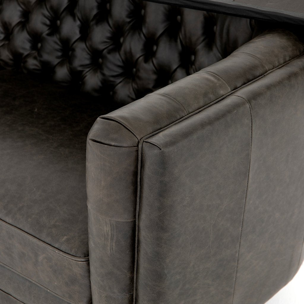 Arm Detail Belair Tufted Leather Sofa - Chaps Ebony