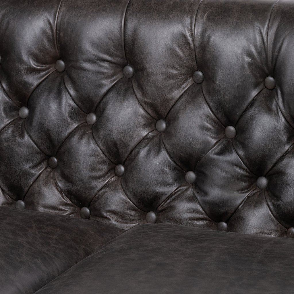 Tufting Detail Belair Tufted Leather Sofa - Chaps Ebony