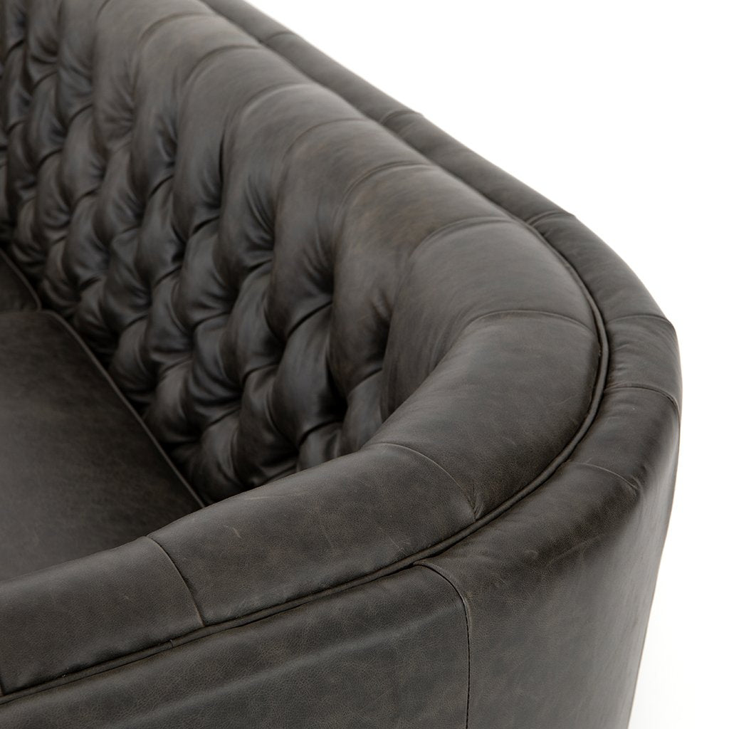 Back Corner Detail Belair Tufted Leather Sofa - Chaps Ebony