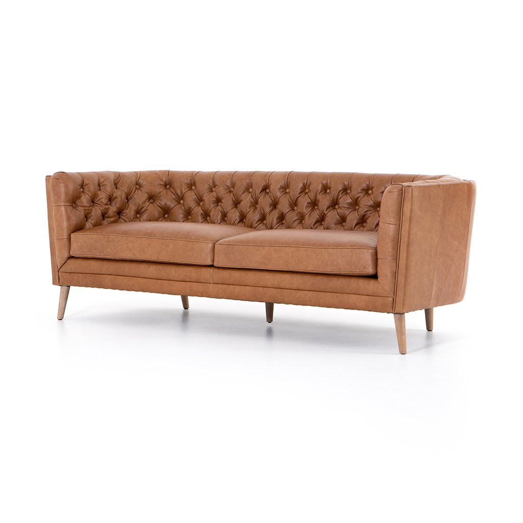 Belair Brown Tufted Leather Sofa - Sonoma Butterscotch