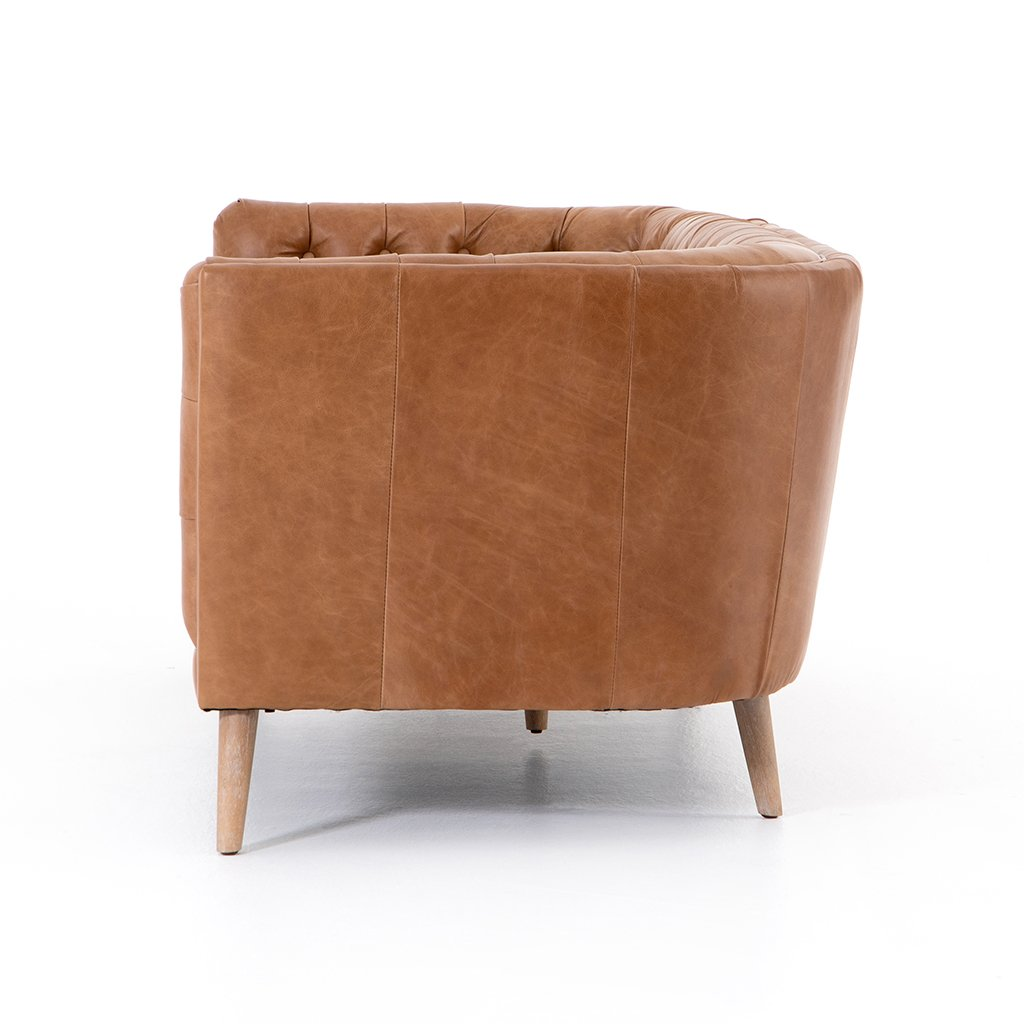 Side View Belair Brown Tufted Leather Sofa - Sonoma Butterscotch