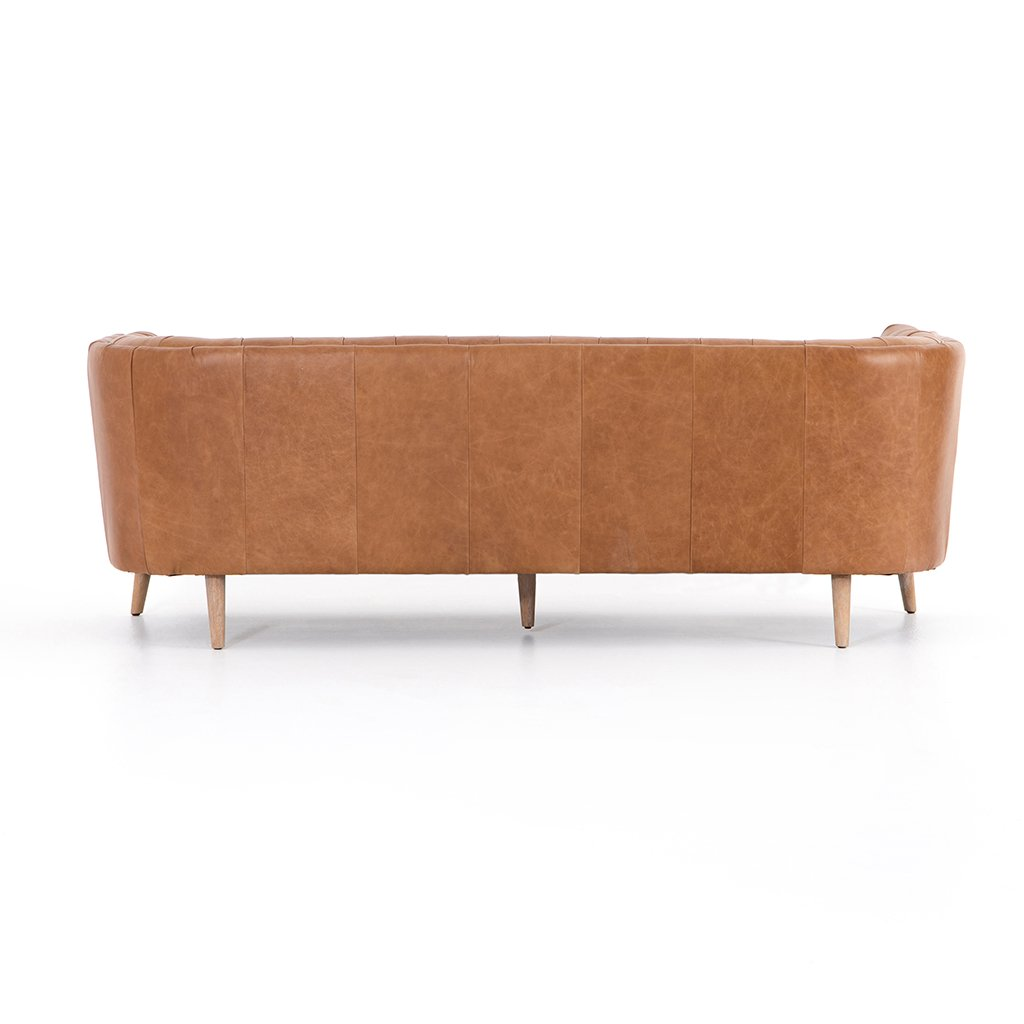 Back View Belair Brown Tufted Leather Sofa - Sonoma Butterscotch